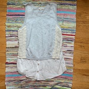 Moth Anthropologie Gray Blue Laced Knit Tank Top